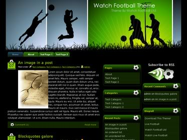 Free Wordpress Theme - Watch Football Soccer Theme