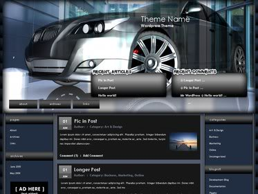 Free Wordpress Theme - 3D car