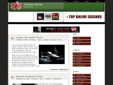 Free Wordpress theme - Poker affiliates
