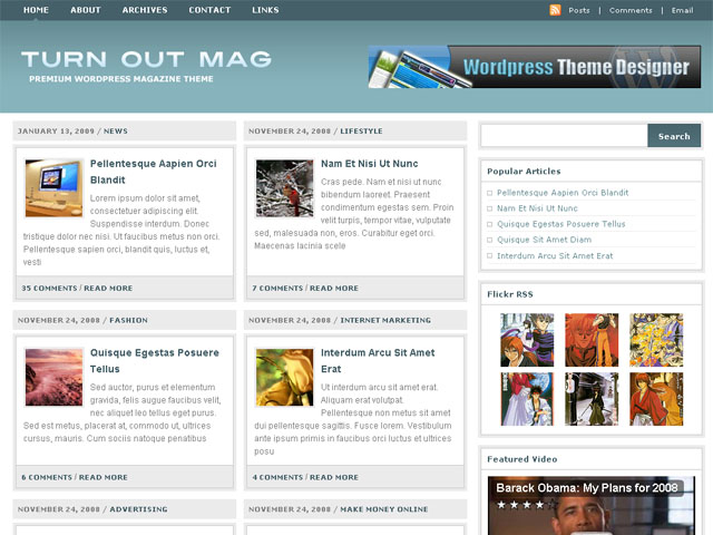Free Wordpress theme - Turn Out Mag