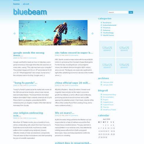 BlueBeam ? Light and Simple, 2 Column WordPress Theme