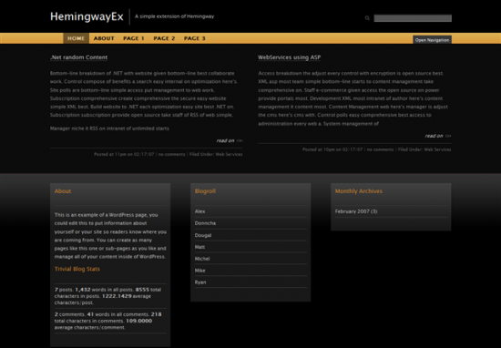 HemingwayEx ? Dark Black WordPress Theme