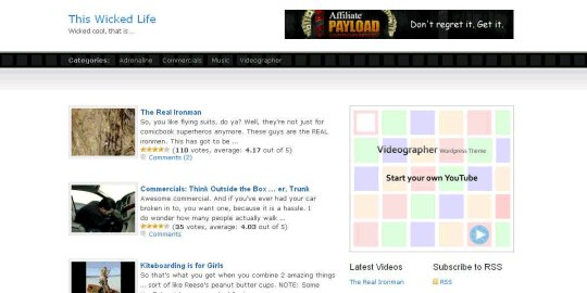 Videographer ? Wordpress Theme for Video Blogs