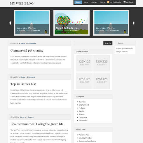 Magazineshack ? 3 Column, Light WordPress Theme with Featured Section
