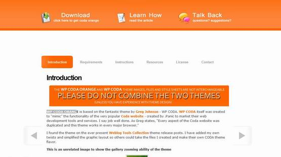 WP Coda Orange ? Wordpress Theme