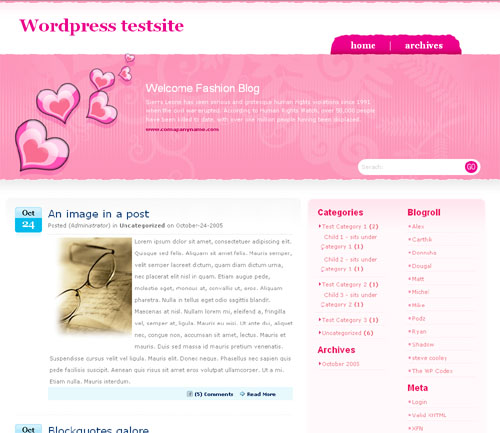 PinkLove ? 3-Column WordPress Theme