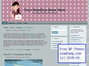 Girl Loves Her Laptop Free WordPress Template / Themes