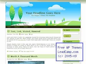 Rolling Grassy Hills Free WordPress Template / Themes