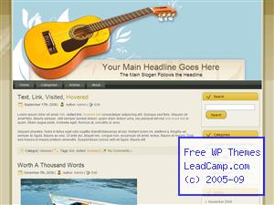 Guitar Music Decoration Free WordPress Template / Themes