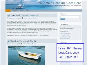 Calm Blue Sailing Free WordPress Template / Themes