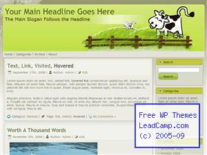 Cows In Green Field Free WordPress Template / Themes
