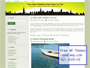 Green Horizon Over City Free WordPress Templates / Themes